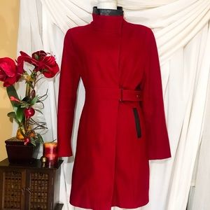 SHARP VIA SPIGA RED WOOL COAT W BLACK DETAILS 10